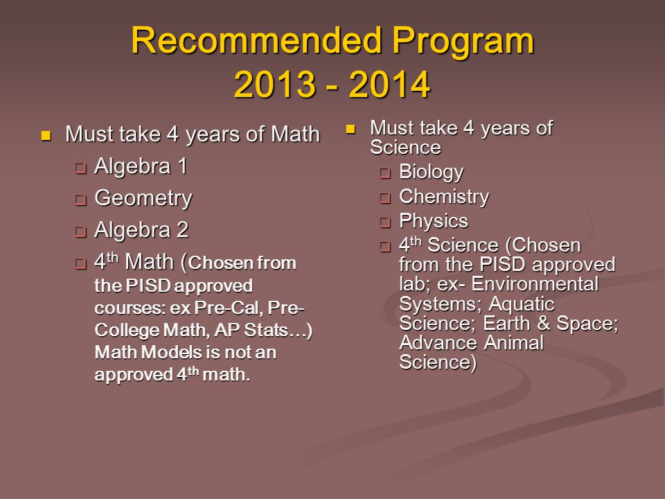 Recommended Program 2013 - 2014 Must take 4 years of Math Must take 4 years of Math  Algebra 1  Geometry  Algebra 2  4 th Math ( Chosen from the P