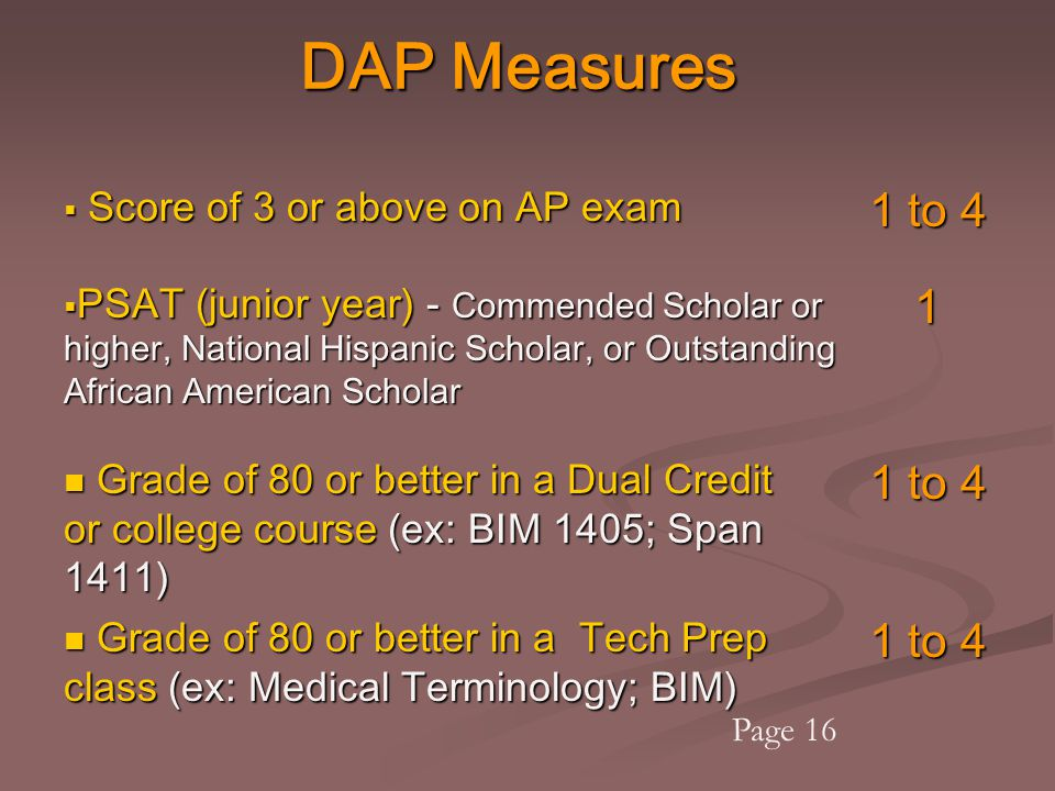 DAP Measures  Score of 3 or above on AP exam 1 to 4  PSAT (junior year) - Commended Scholar or higher, National Hispanic Scholar, or Outstanding Afr