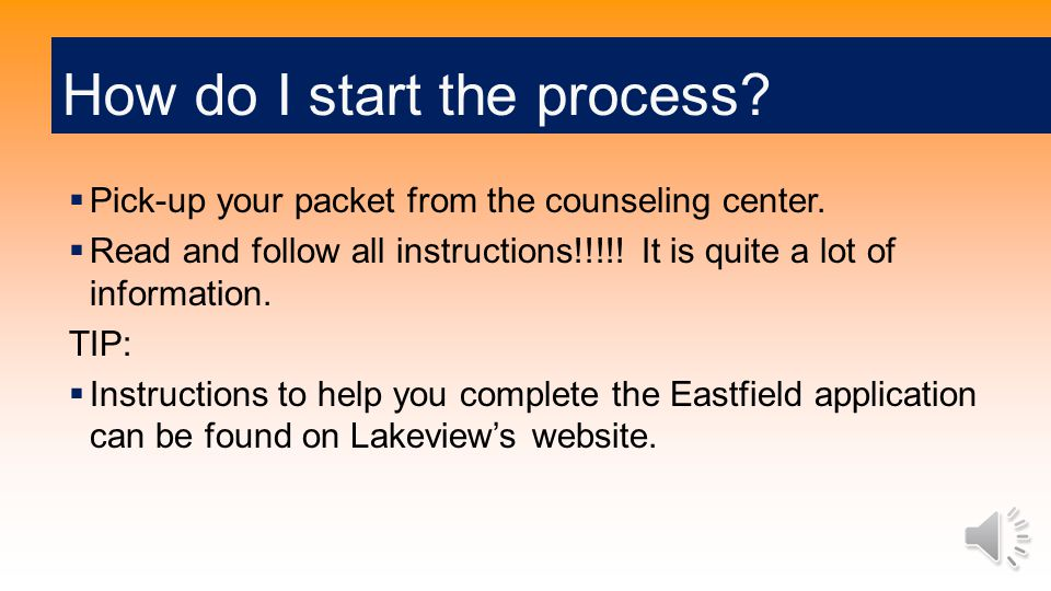  Pick-up your packet from the counseling center. Read and follow all instructions!!!!.