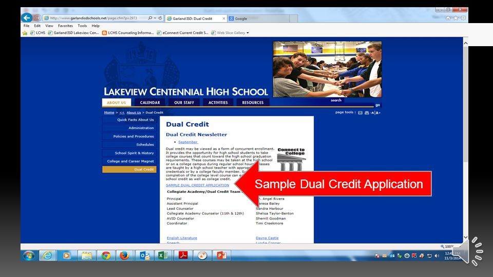 Click on About Us, Dual Credit