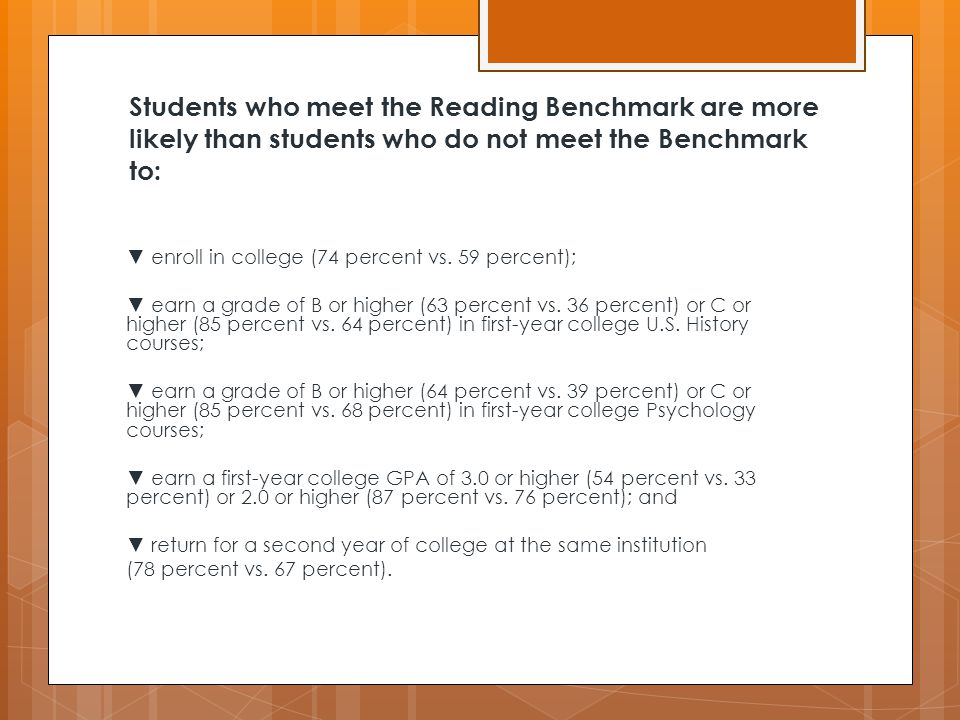 Students who meet the Reading Benchmark are more likely than students who do not meet the Benchmark to: ▼ enroll in college (74 percent vs.