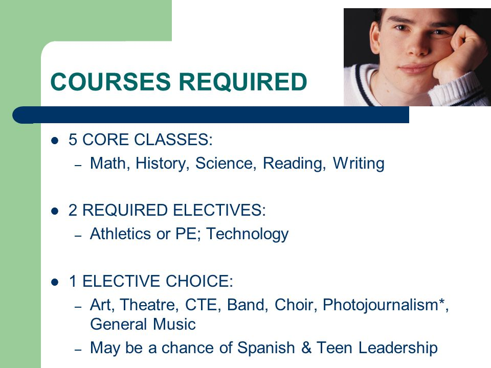 COURSES REQUIRED 5 CORE CLASSES: – Math, History, Science, Reading, Writing 2 REQUIRED ELECTIVES: – Athletics or PE; Technology 1 ELECTIVE CHOICE: – Art, Theatre, CTE, Band, Choir, Photojournalism*, General Music – May be a chance of Spanish & Teen Leadership