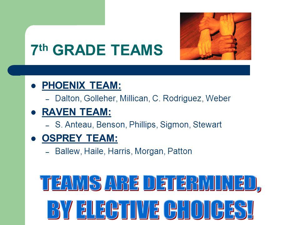 7 th GRADE TEAMS PHOENIX TEAM: – Dalton, Golleher, Millican, C.