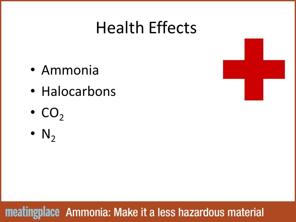 Health Effects Ammonia Halocarbons CO 2 N 2