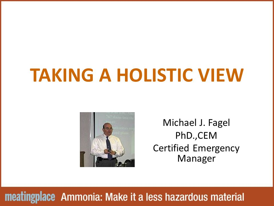TAKING A HOLISTIC VIEW Michael J. Fagel PhD.,CEM Certified Emergency Manager