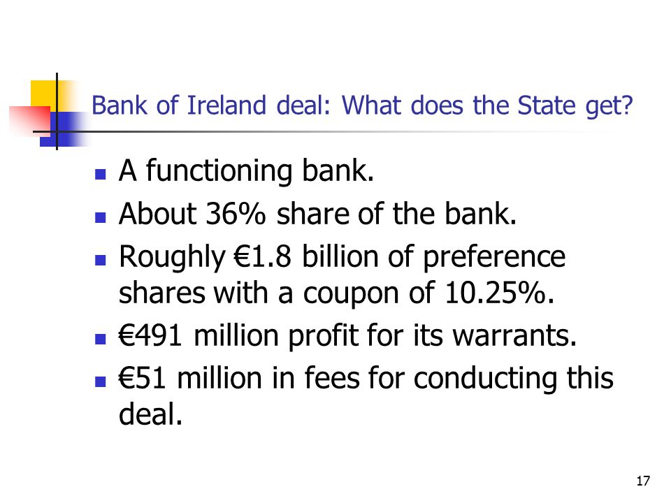 17 Bank of Ireland deal: What does the State get? A functioning bank. About 36% share of the bank. Roughly €1.8 billion of preference shares with a co