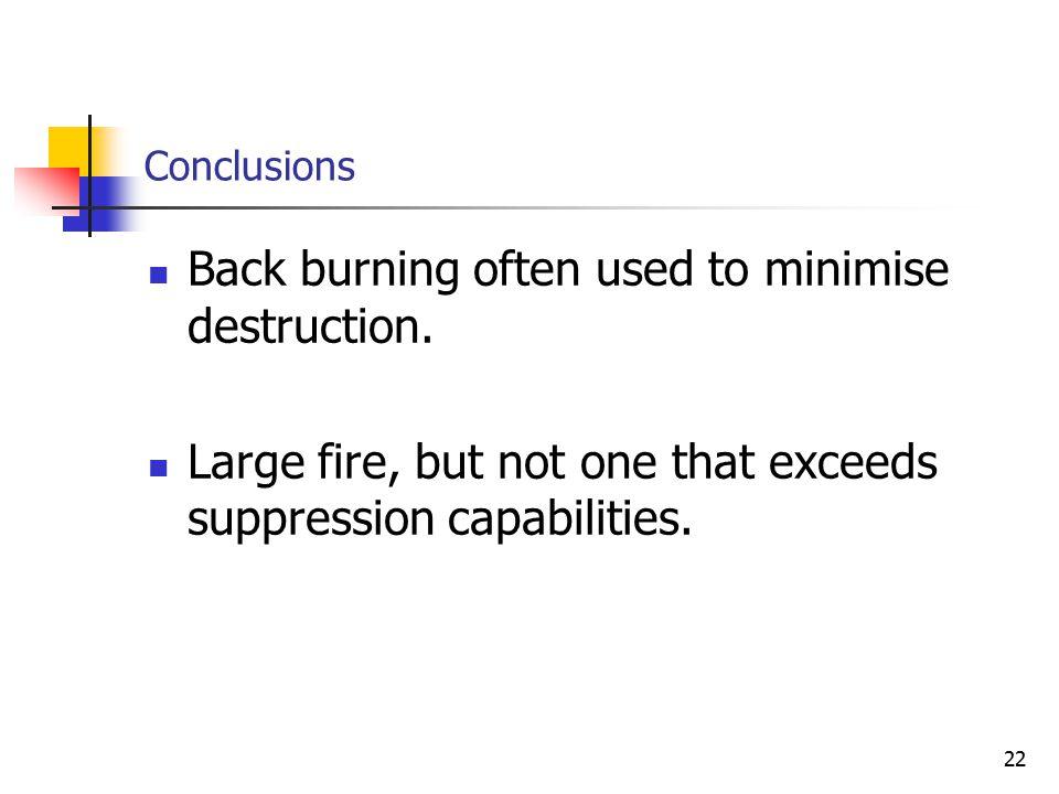 22 Conclusions Back burning often used to minimise destruction.