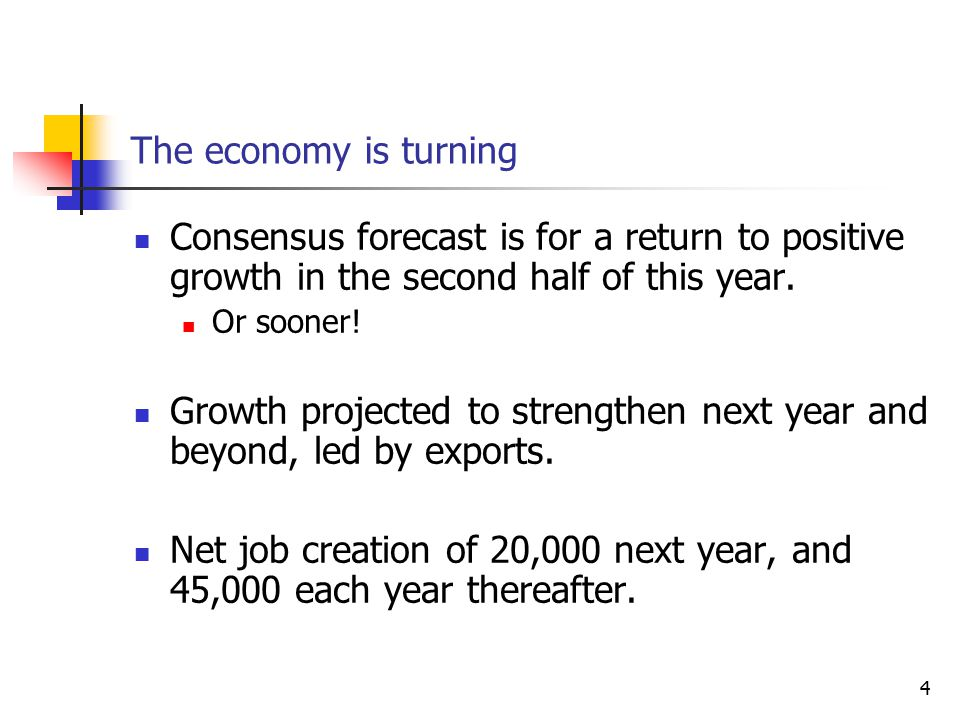 4 The economy is turning Consensus forecast is for a return to positive growth in the second half of this year.