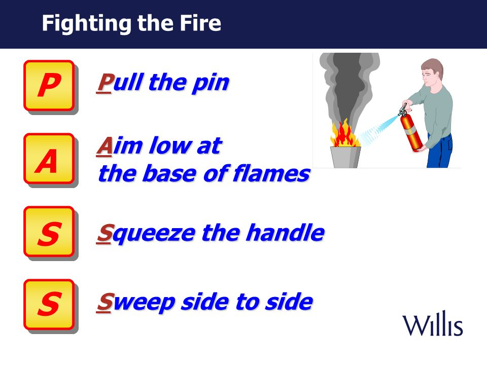 Firefighting Decision Criteria Know department emergency procedures and evacuation routes Know locations of extinguishers in your area and how to use them Always sound the alarm regardless of fire size Avoid smoky conditions Ensure area is evacuated Don't attempt to fight unless: Alarm is sounded Fire is small and contained You have safe egress route (can be reached without exposure to fire) Available extinguishers are rated for size and type of fire If in doubt, evacuate.