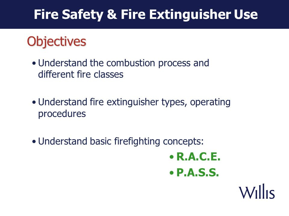 The Combustion Process Fire Safety & Fire Extinguisher Use Three components Need all three components to start a fire Fire extinguishers remove one or more of the components.