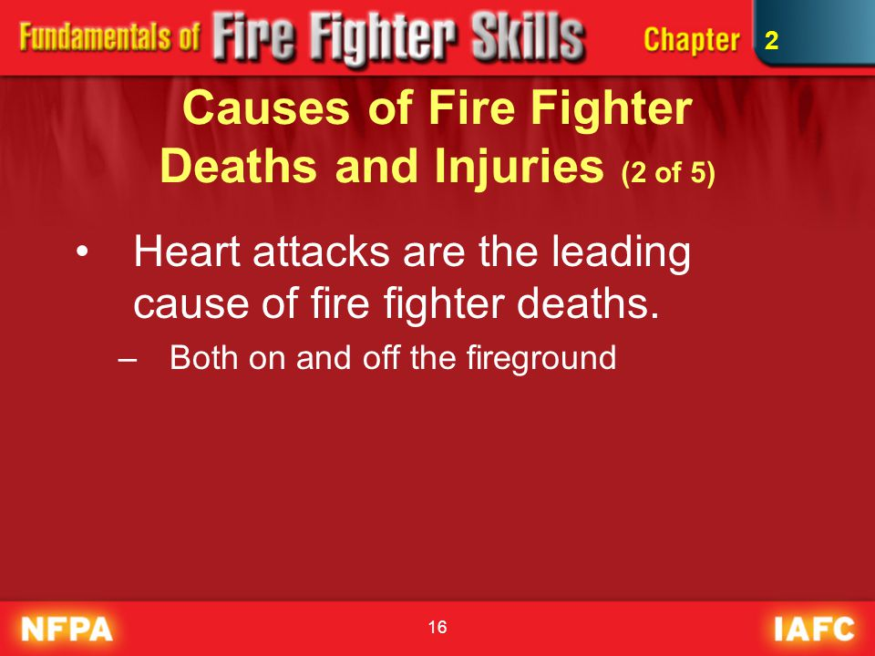 16 Causes of Fire Fighter Deaths and Injuries (2 of 5) Heart attacks are the leading cause of fire fighter deaths. –Both on and off the fireground 2