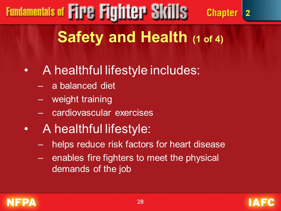 28 Safety and Health (1 of 4) A healthful lifestyle includes: –a balanced diet –weight training –cardiovascular exercises A healthful lifestyle: –help
