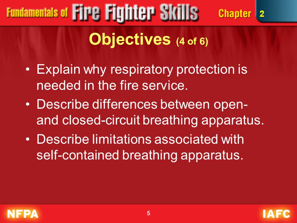 6 Objectives (5 of 6) List and describe the major components of SCBA.