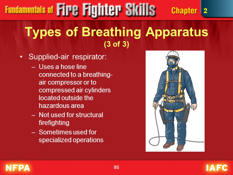 95 Types of Breathing Apparatus (3 of 3) Supplied-air respirator: –Uses a hose line connected to a breathing- air compressor or to compressed air cyli
