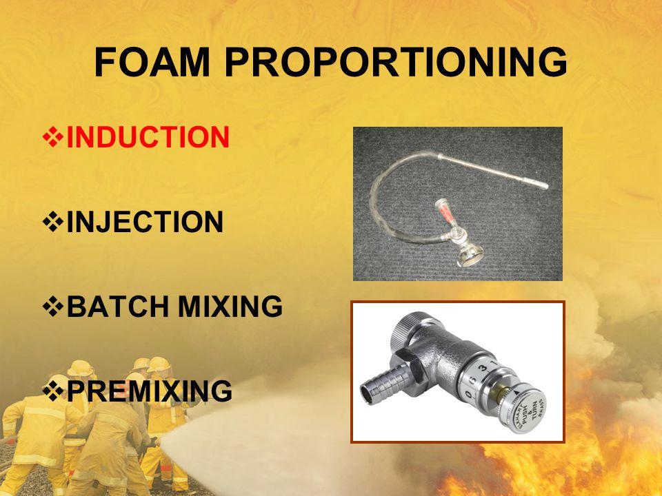 FOAM PROPORTIONING  INDUCTION  INJECTION  BATCH MIXING  PREMIXING