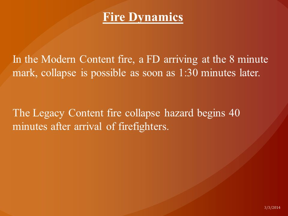 In the Modern Content fire, a FD arriving at the 8 minute mark, collapse is possible as soon as 1:30 minutes later. The Legacy Content fire collapse h