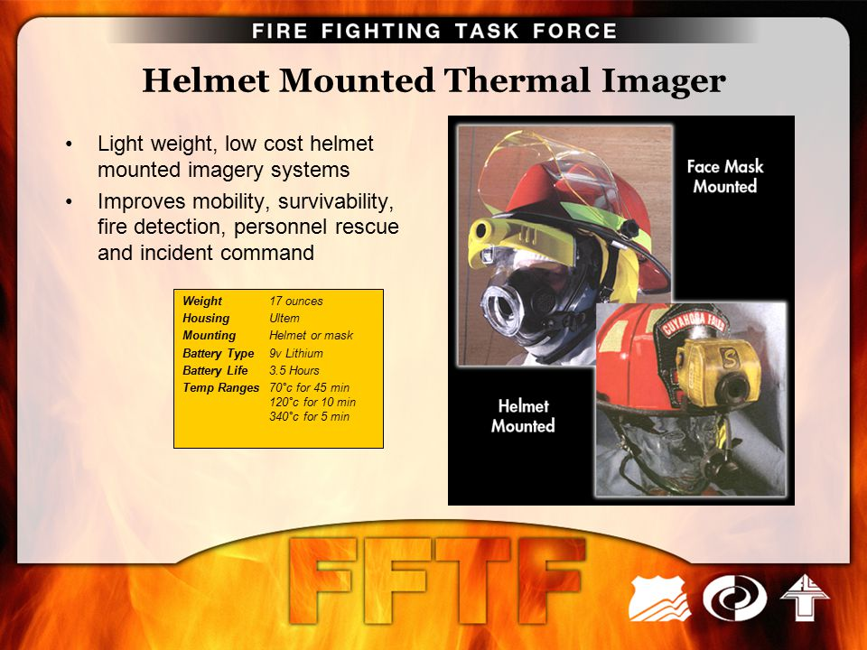 Helmet Mounted Thermal Imager Light weight, low cost helmet mounted imagery systems Improves mobility, survivability, fire detection, personnel rescue