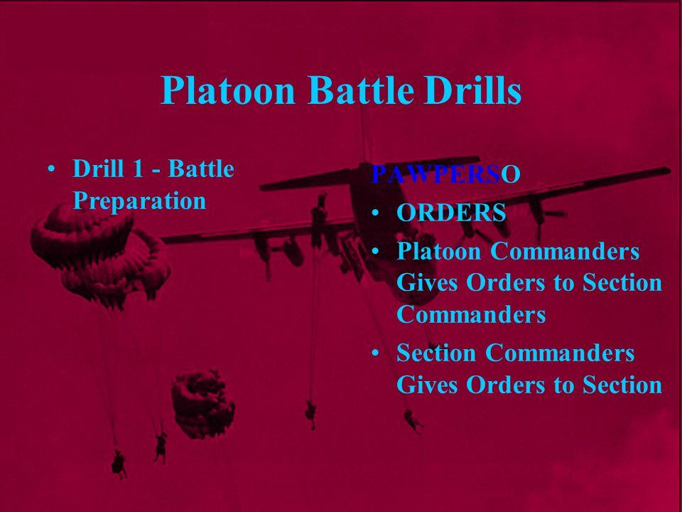 Platoon Battle Drills PAWPERSO ORDERS Platoon Commanders Gives Orders to Section Commanders Section Commanders Gives Orders to Section Drill 1 - Battl