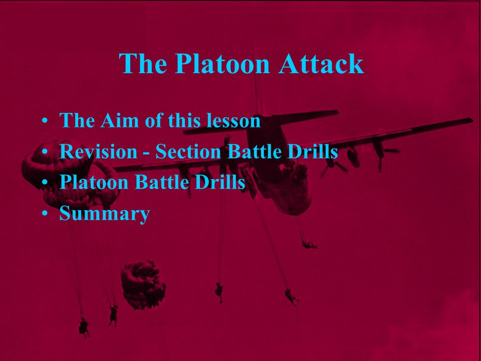 Platoon Battle Drills Once the en posn is taken the platoon is at its most vulnerable because It is low on ammo and may have casualties Men are disorientated and spread out The en know this, and it is the ideal time for a counterattack The position may have been DFd Drill 4 - Reorganization
