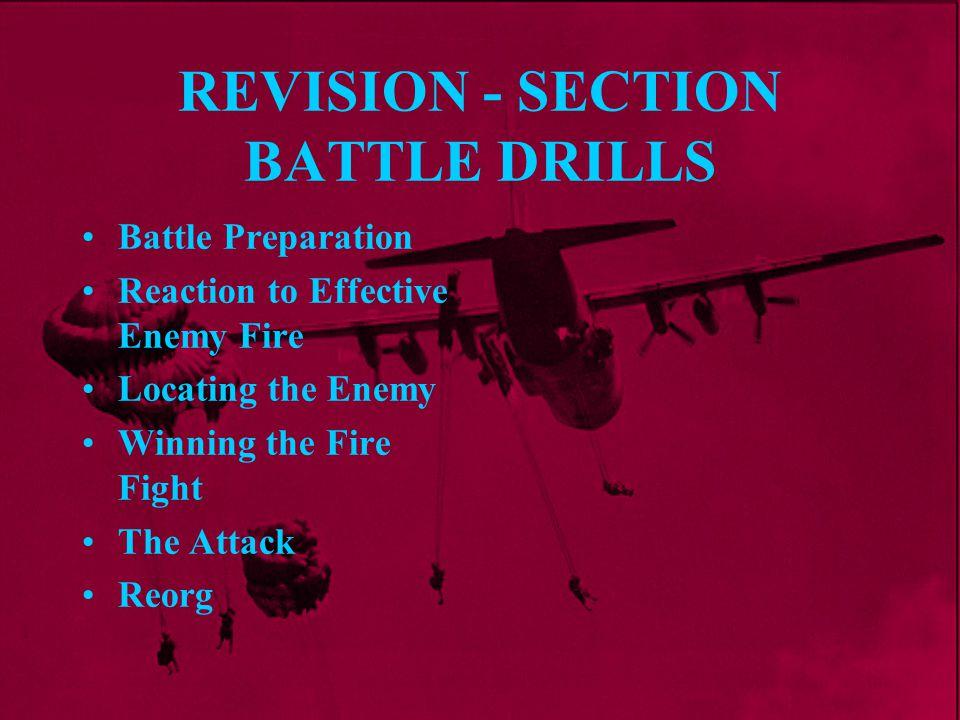 Platoon Battle Drills PAWPERSO ORDERS Platoon Commanders Gives Orders to Section Commanders Section Commanders Gives Orders to Section Drill 1 - Battle Preparation