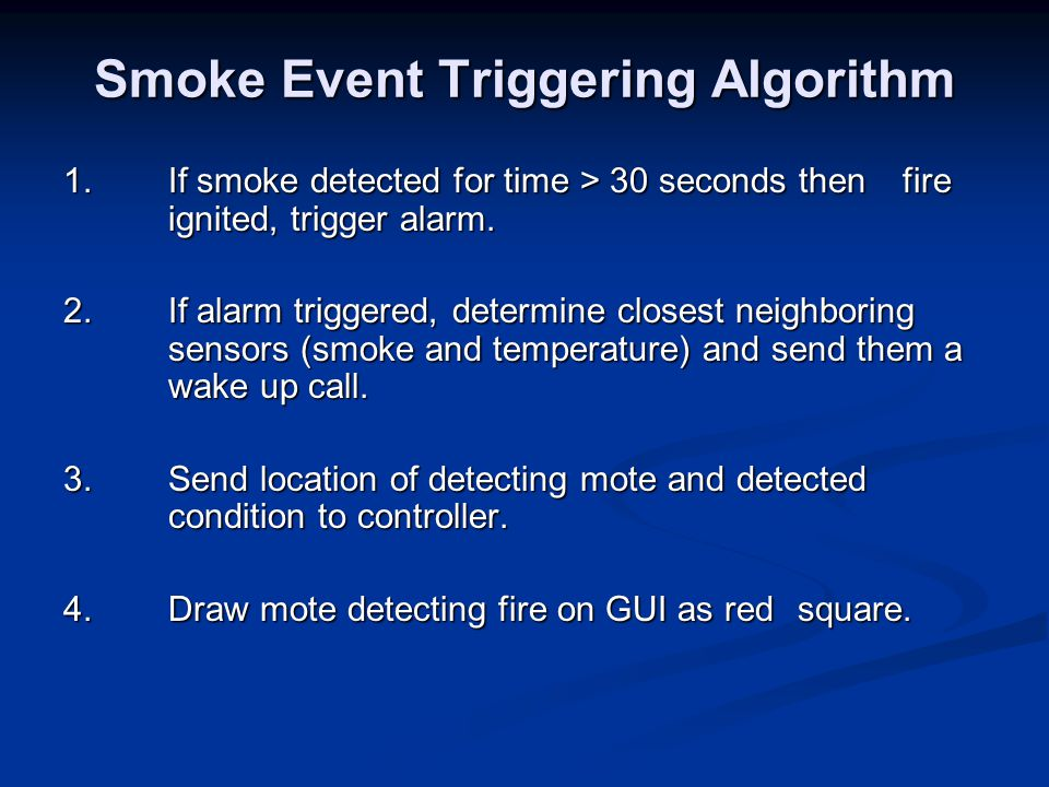 Smoke Event Triggering Algorithm 1.If smoke detected for time > 30 seconds then fire ignited, trigger alarm.