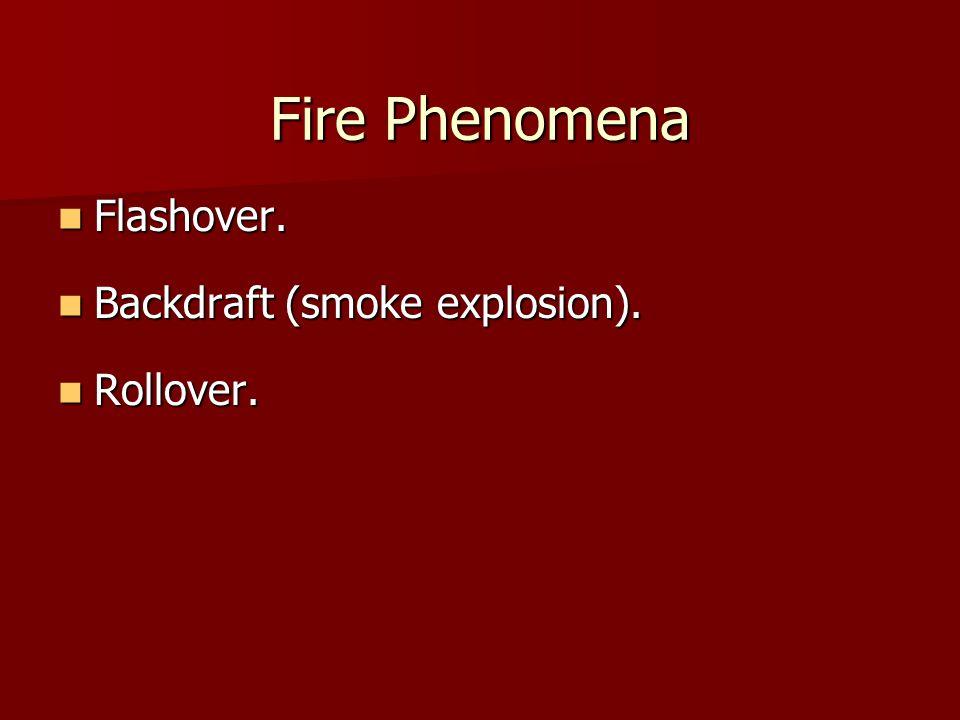 Fire Phenomena Flashover. Flashover. Backdraft (smoke explosion).