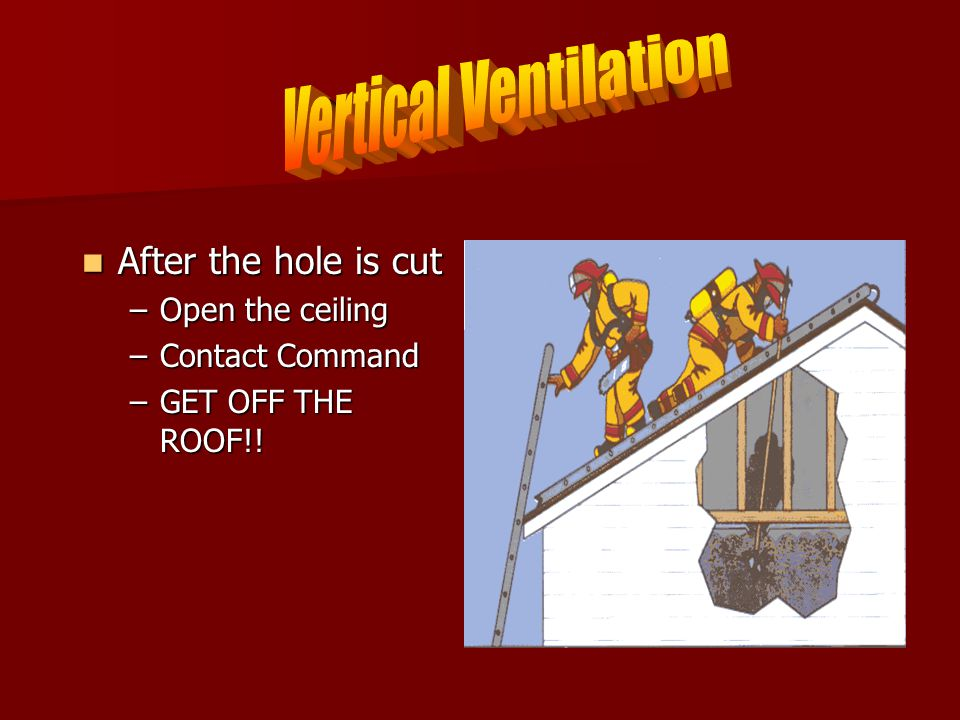 After the hole is cut After the hole is cut –Open the ceiling –Contact Command –GET OFF THE ROOF!!