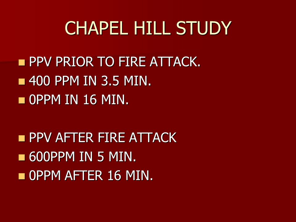 CHAPEL HILL STUDY PPV PRIOR TO FIRE ATTACK.PPV PRIOR TO FIRE ATTACK.