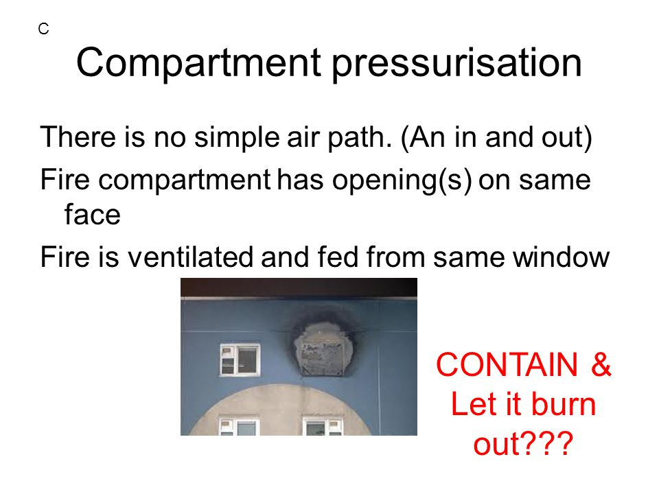 Compartment pressurisation There is no simple air path.