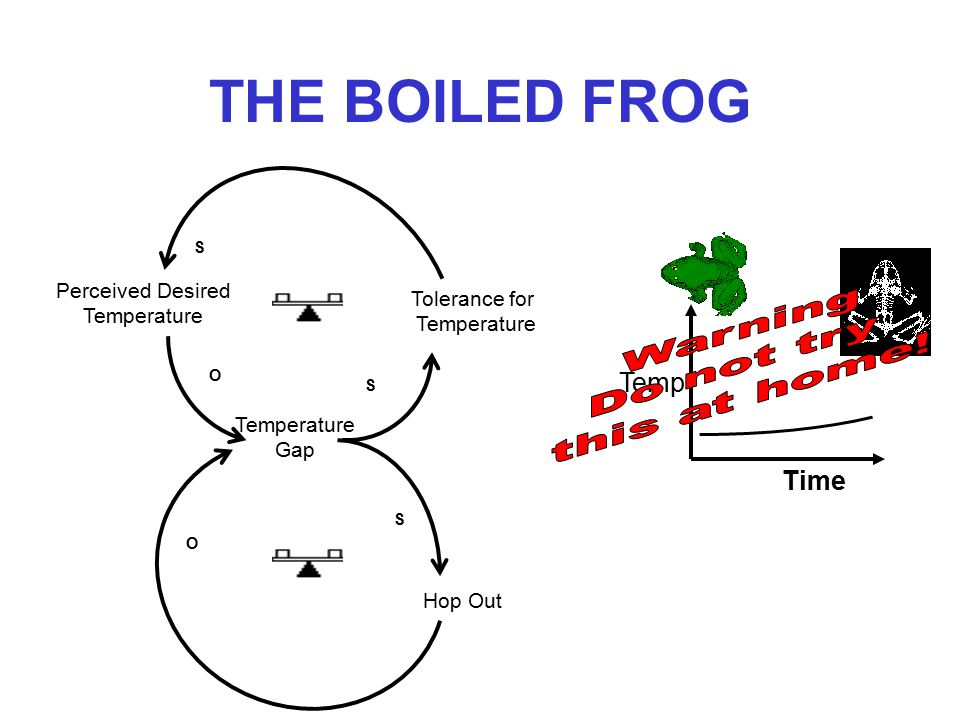 THE BOILED FROG If you put a frog in boiling water, it will hop out immediately If you put a frog in cold water and slowly bring the water to boil, the frog will unwittingly enjoy its last blissful warm bath