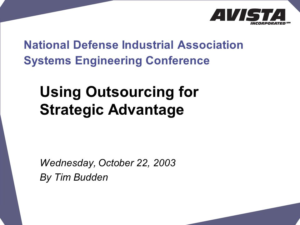 National Defense Industrial Association Systems Engineering Conference Using Outsourcing for Strategic Advantage Wednesday, October 22, 2003 By Tim Budden