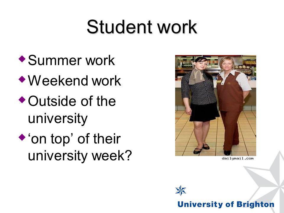 Student work  Summer work  Weekend work  Outside of the university  'on top' of their university week