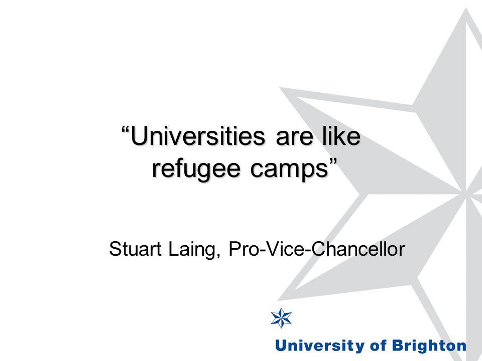 Universities are like refugee camps Stuart Laing, Pro-Vice-Chancellor