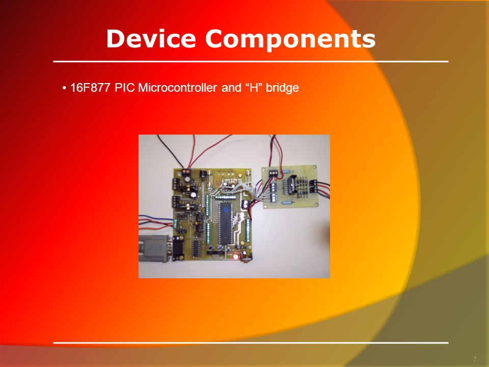 Device Components 7 16F877 PIC Microcontroller and H bridge
