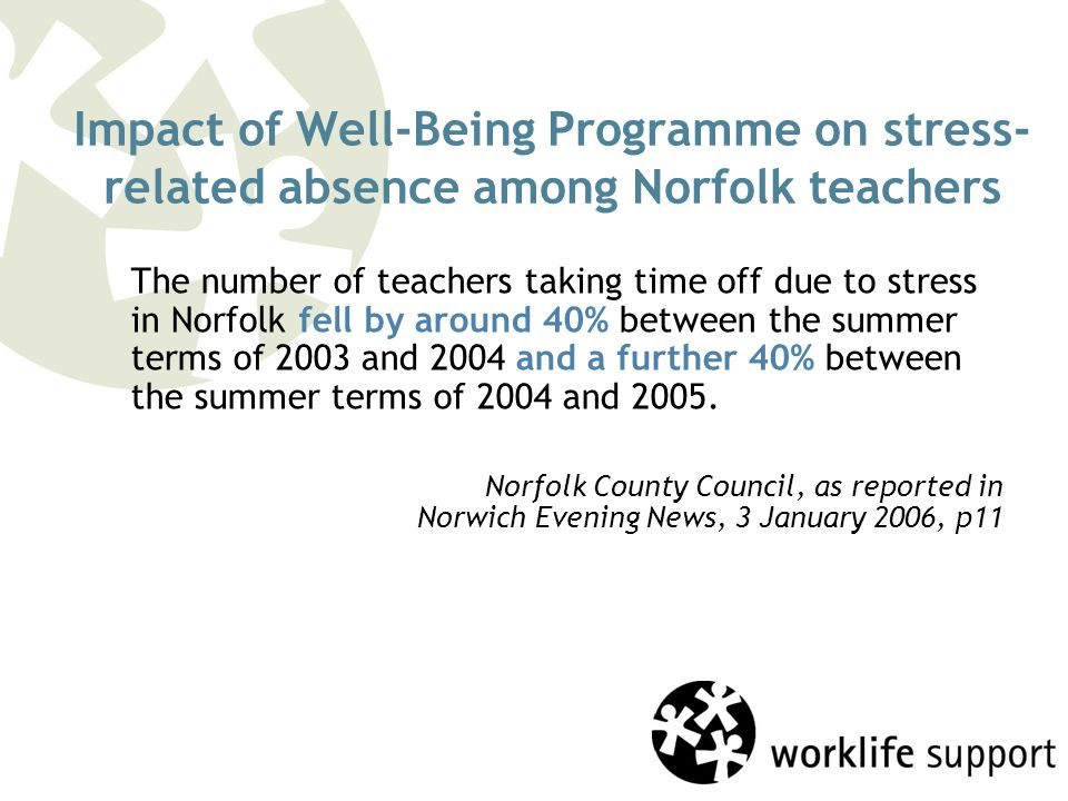 Impact of Well-Being Programme on stress- related absence among Norfolk teachers The number of teachers taking time off due to stress in Norfolk fell by around 40% between the summer terms of 2003 and 2004 and a further 40% between the summer terms of 2004 and 2005.