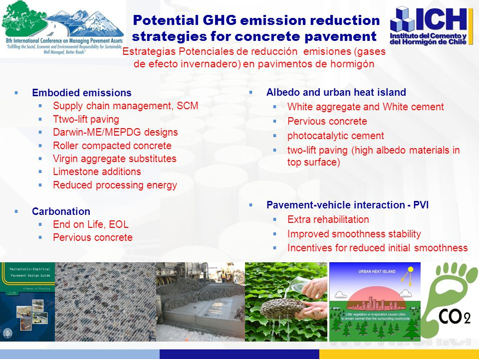 Potential GHG emission reduction strategies for concrete pavement Estrategias Potenciales de reducción emisiones (gases de efecto invernadero) en pavimentos de hormigón  Embodied emissions  Supply chain management, SCM  Ttwo-lift paving  Darwin-ME/MEPDG designs  Roller compacted concrete  Virgin aggregate substitutes  Limestone additions  Reduced processing energy  Carbonation  End on Life, EOL  Pervious concrete  Albedo and urban heat island  White aggregate and White cement  Pervious concrete  photocatalytic cement  two-lift paving (high albedo materials in top surface)  Pavement-vehicle interaction - PVI  Extra rehabilitation  Improved smoothness stability  Incentives for reduced initial smoothness