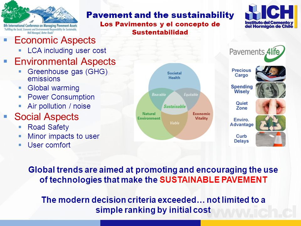 Pavement and the sustainability Los Pavimentos y el concepto de Sustentabilidad  Economic Aspects  LCA including user cost  Environmental Aspects  Greenhouse gas (GHG) emissions  Global warming  Power Consumption  Air pollution / noise  Social Aspects  Road Safety  Minor impacts to user  User comfort Global trends are aimed at promoting and encouraging the use of technologies that make the SUSTAINABLE PAVEMENT The modern decision criteria exceeded… not limited to a simple ranking by initial cost