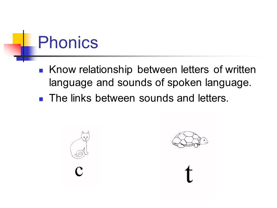 Phonics Know relationship between letters of written language and sounds of spoken language. The links between sounds and letters.