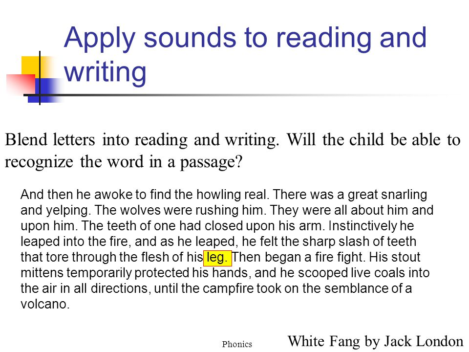 Phonics Apply sounds to reading and writing Blend letters into reading and writing.