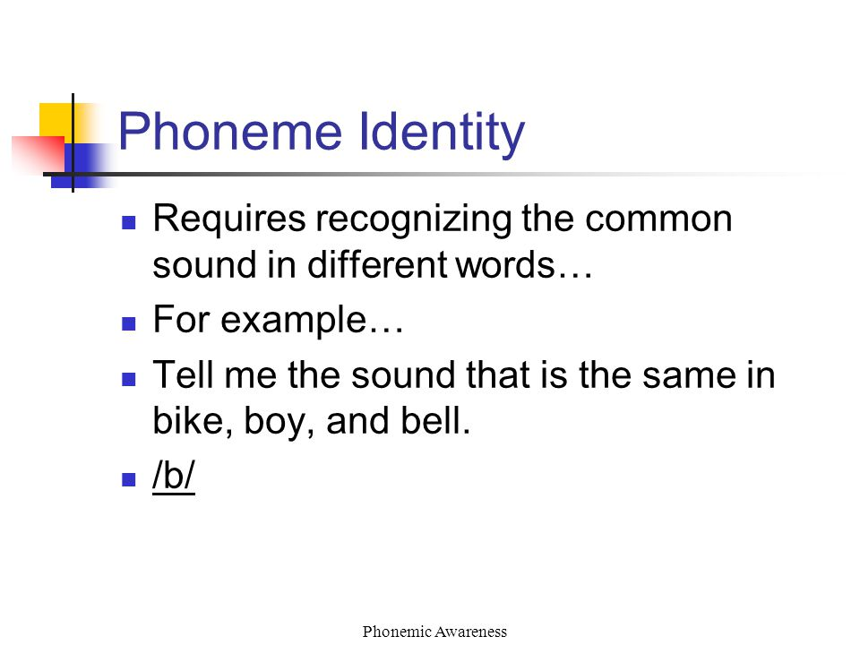 Phonemic Awareness Phoneme Identity Requires recognizing the common sound in different words… For example… Tell me the sound that is the same in bike, boy, and bell.