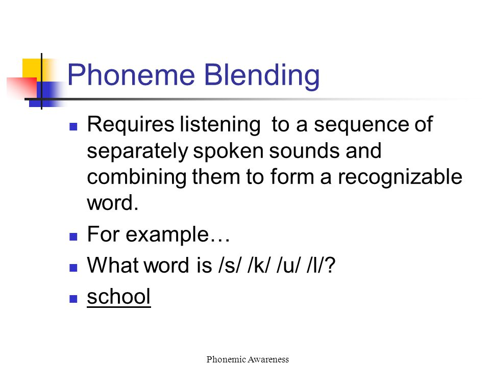 Phonemic Awareness Phoneme Blending Requires listening to a sequence of separately spoken sounds and combining them to form a recognizable word.