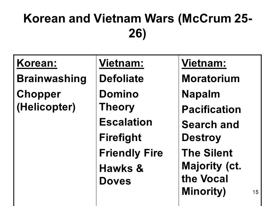 15 Korean and Vietnam Wars (McCrum 25- 26) Korean: Brainwashing Chopper (Helicopter) Vietnam: Defoliate Domino Theory Escalation Firefight Friendly Fi