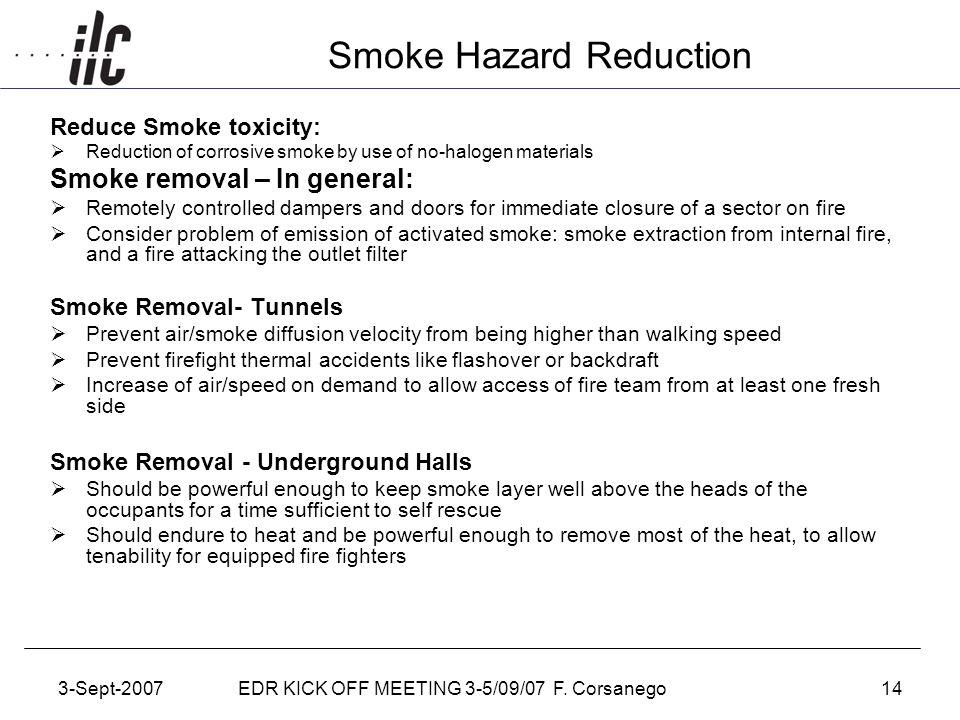 3-Sept-2007EDR KICK OFF MEETING 3-5/09/07 F. Corsanego14 Smoke Hazard Reduction Reduce Smoke toxicity:  Reduction of corrosive smoke by use of no-hal