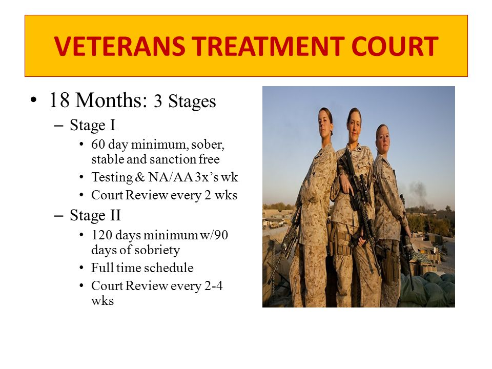 VETERANS TREATMENT COURT Stage III – 180 day minimum – Relapse prevention plan – Court Review every 2-6 wks Aftercare 180 days sober – 180 day minimum, stable and sanction free.