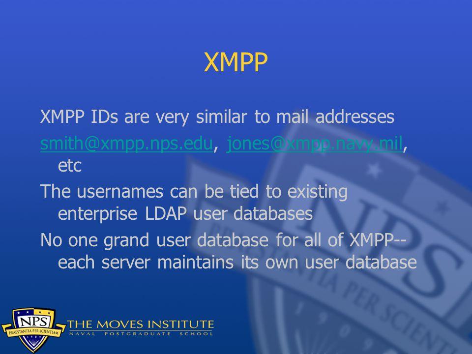 XMPP XMPP IDs are very similar to mail addresses smith@xmpp.nps.edusmith@xmpp.nps.edu, jones@xmpp.navy.mil, etcjones@xmpp.navy.mil The usernames can b