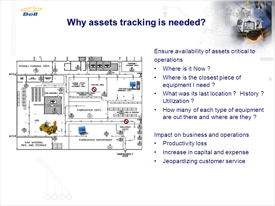 Why assets tracking is needed? Ensure availability of assets critical to operations Where is it Now ? Where is the closest piece of equipment I need ?