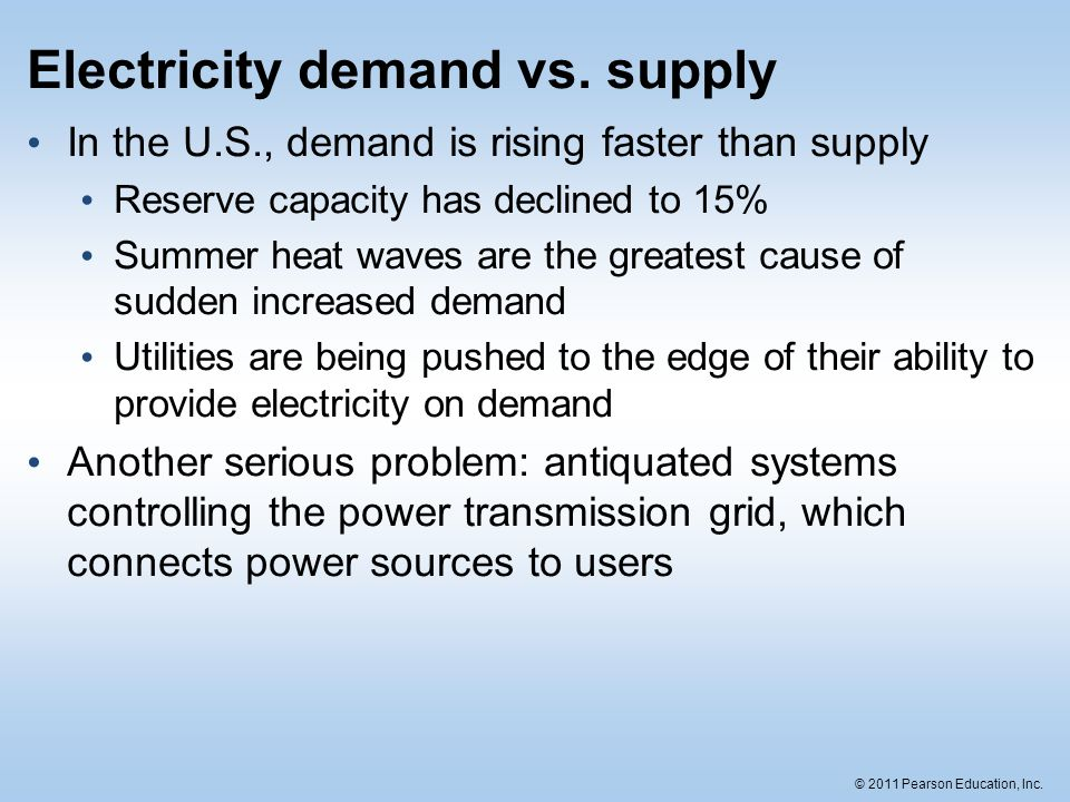 © 2011 Pearson Education, Inc. Electricity demand vs. supply In the U.S., demand is rising faster than supply Reserve capacity has declined to 15% Sum