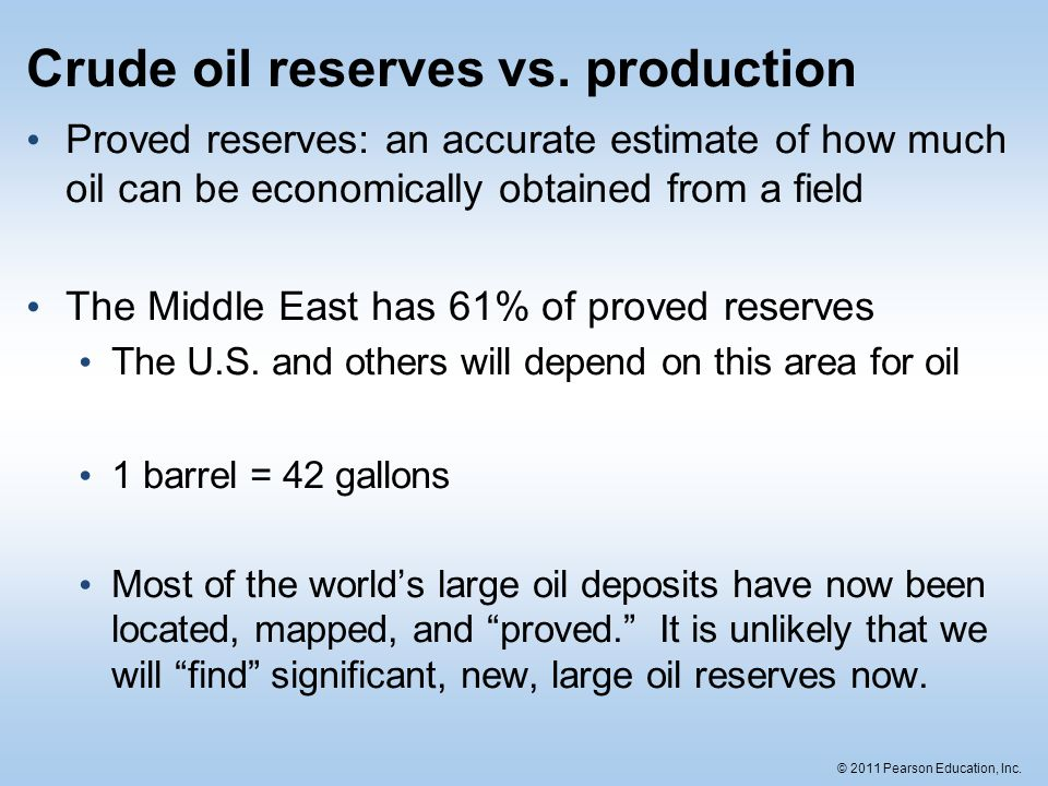 © 2011 Pearson Education, Inc. Crude oil reserves vs. production Proved reserves: an accurate estimate of how much oil can be economically obtained fr