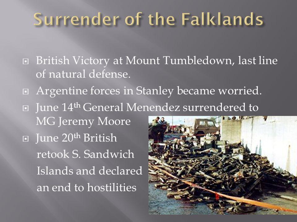  British Victory at Mount Tumbledown, last line of natural defense.