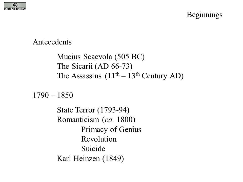 Antecedents Mucius Scaevola (505 BC) The Sicarii (AD 66-73) The Assassins (11 th – 13 th Century AD) 1790 – 1850 State Terror (1793-94) Romanticism (c